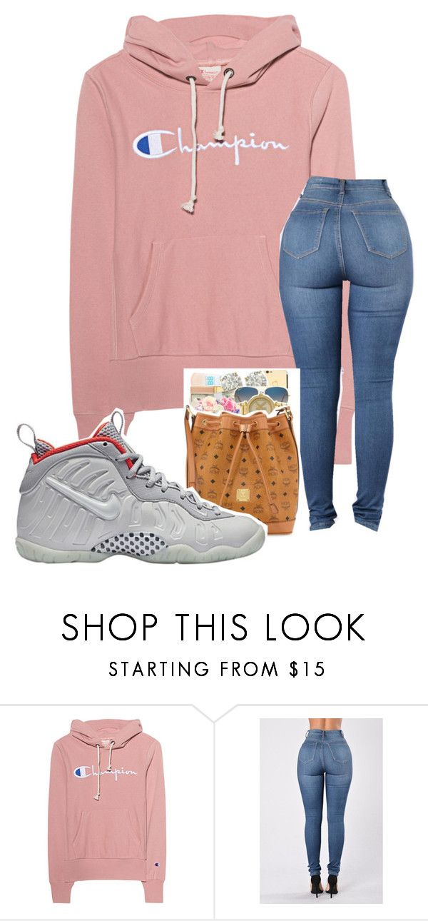 """""""school outfit"""" by mynametay ❤ liked on Polyvore featuring Champion and NIKE"""