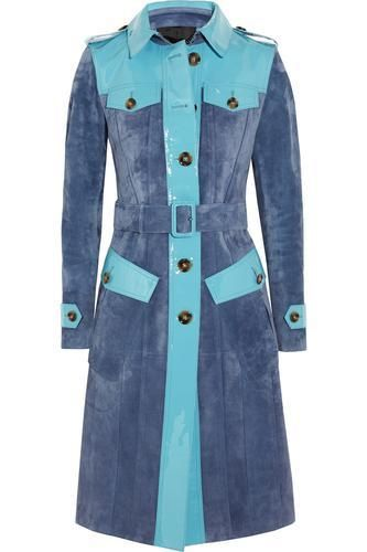 Patent leather-paneled suede trench coat #trenchcoat #covetme #burberryprorsum