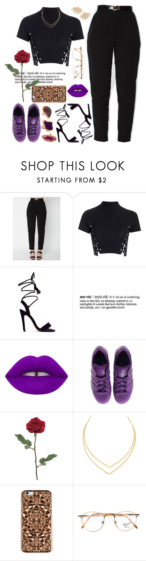"""Purple Rain / R.I.P Prince 💜🌹"" by love-rebelwolf ❤ liked on Polyvore featuring Glamorous, Lamoda, Lime Crime, adidas, Lana, Felony Case, Persol and Sutra"