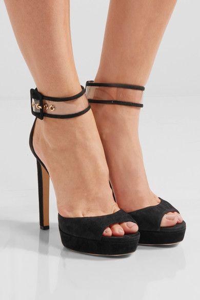 Jimmy Choo - Mayner Pvc-trimmed Suede Platform Sandals - Black