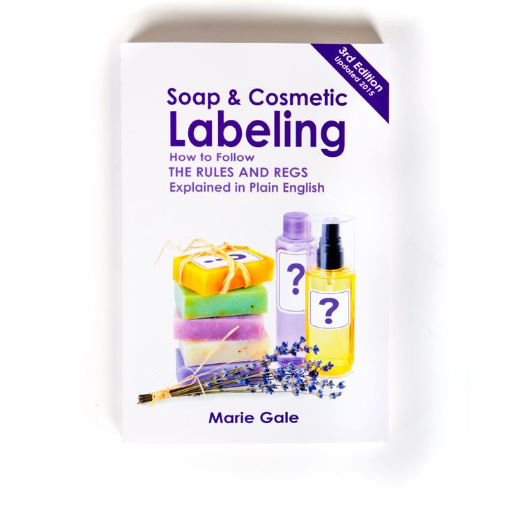 Soap and Cosmetic Labeling by Marie Gale.This book is the comprehensive labeling book you've always wanted. Dense with information yet clear in interpreting the various rules for labeling, this book is a must-have if you're selling your products.