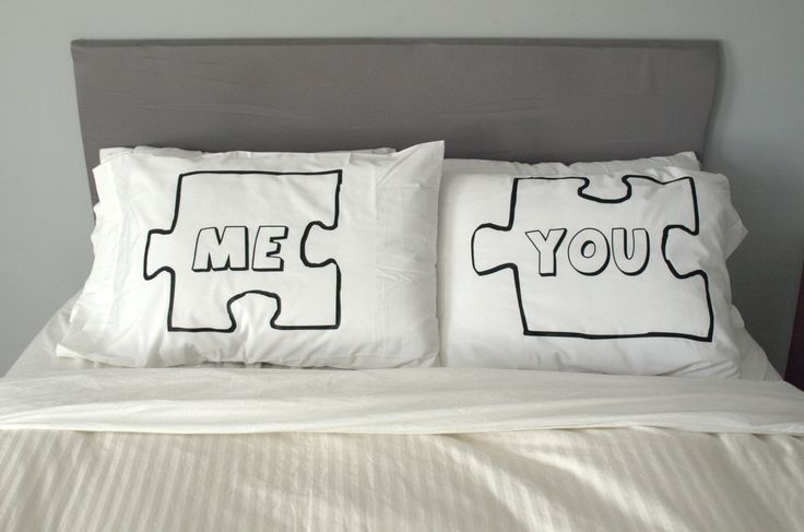 Puzzle Piece Pillow Case For Weddings, Couples, Love Pillowcases, You and Me, Pillows. $38.99, via Etsy.