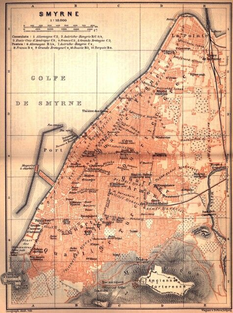 Old map of Izmir