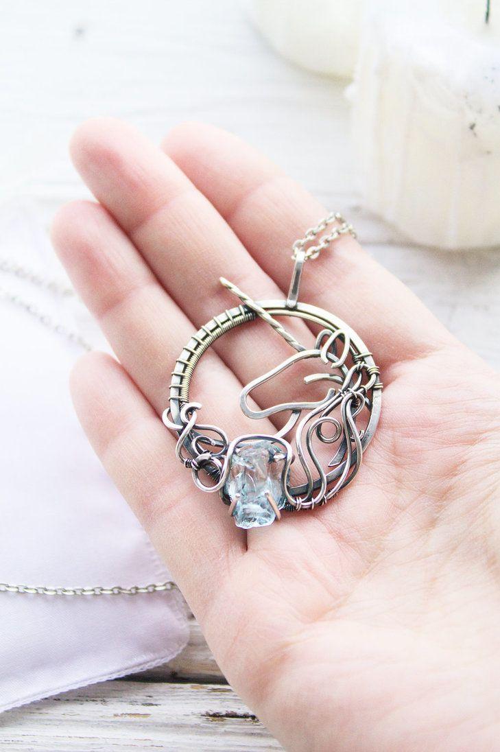 Silver Unicorn By Ursulajewelry Ooak Jewelry Gift Necklace Guitar Jewelry