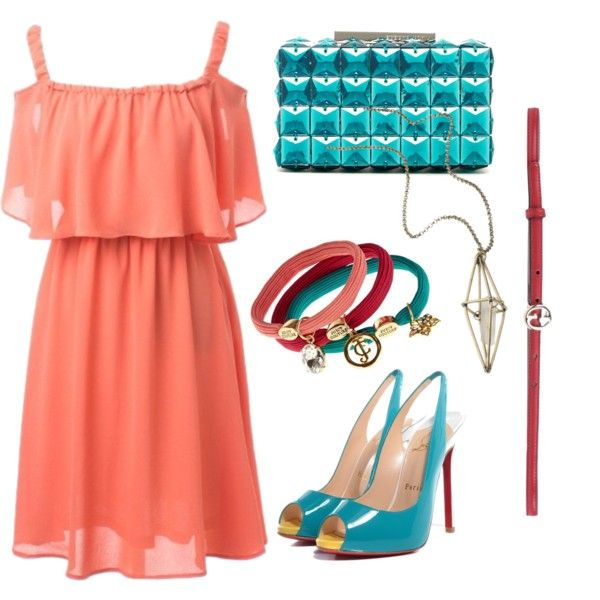 Azzuro peach, style by Czumaczech on Polyvore featuring polyvore fashion style BCBGMAXAZRIA maurices Gucci Juicy Couture