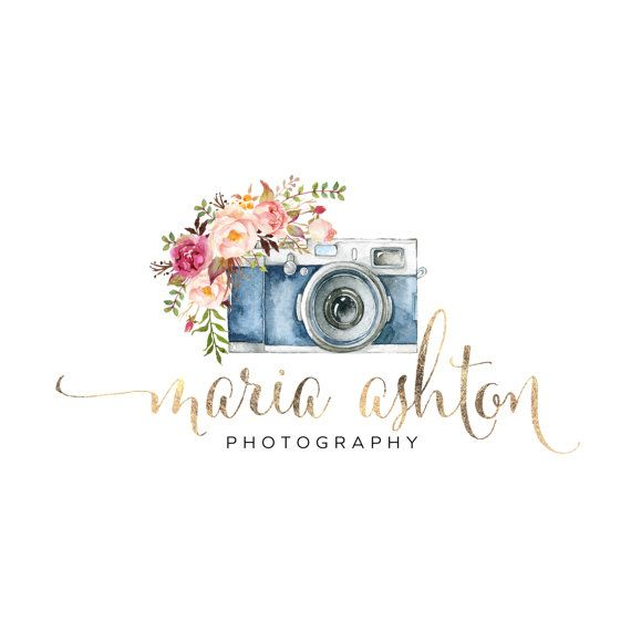 Premade Logo Design Watercolor Camera Flowers Gold by VisualPixie