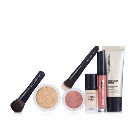 209798 Bareminerals 7 Piece Beautifully Radiant Make-up Collection - QVC Price: £59.01  Introductory Price: £49.92 + P&P: £4.95 or 3 Easy Pays of £16.64 +P&P in 9 shades Launching the new Stroke of Light Highlighter to add luminesce to your complexion, this Bareminerals make-up collection also features two hero foundations; Original Foundation and Complexion Rescue - one powder and one gel formula - helping you to create a complexion wardrobe and achieve a variety of coverage and finishes.