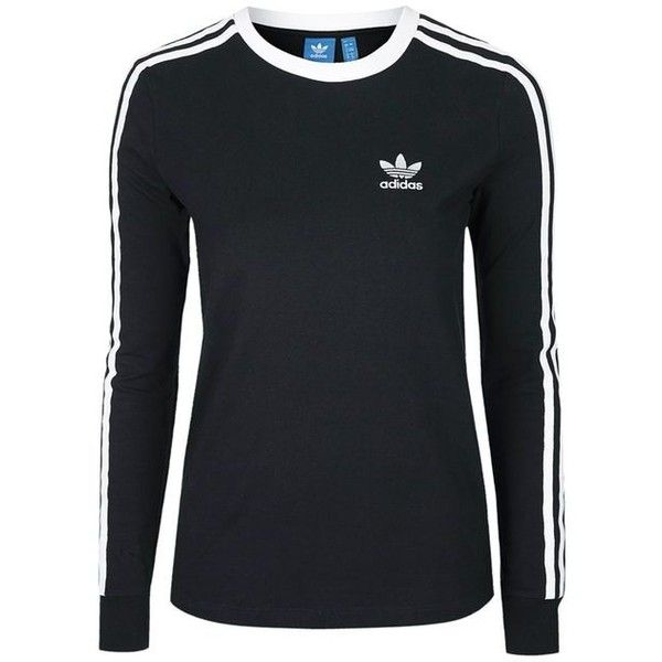 3 Stripe Long Sleeve T-Shirt by Adidas Originals (£32) ❤ liked on Polyvore featuring tops, t-shirts, long sleeve cotton t shirts, striped long sleeve t shirt, striped long sleeve tee, sports t shirts and striped t shirt