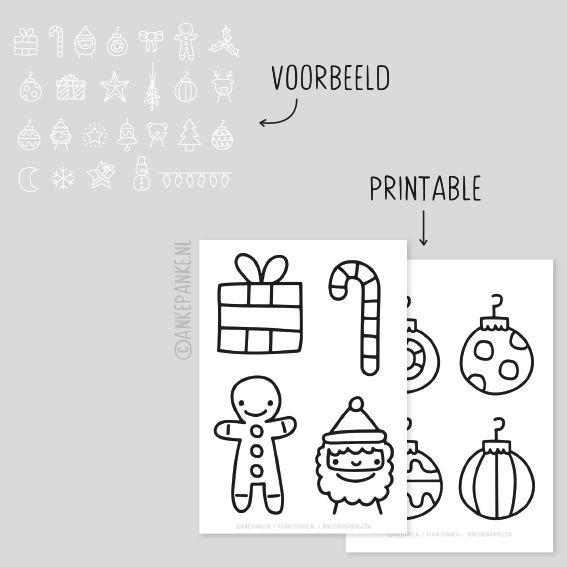 Kerst doodles raamtekening