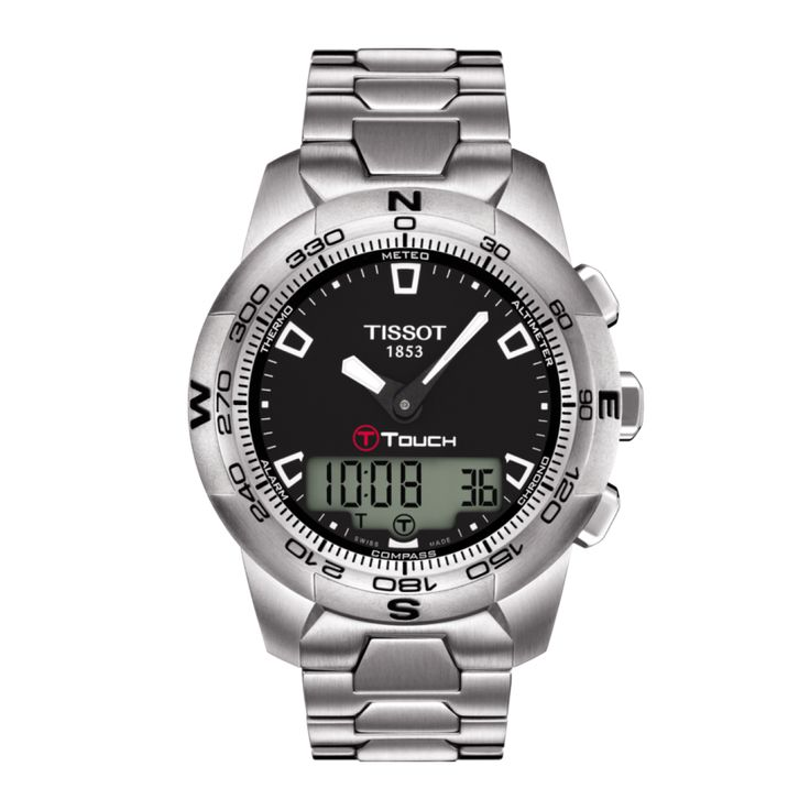 TISSOT T-TOUCH II Stainless Steel The latest generation of Touch Technology equips the core models of this collection which is highly demanded with some great high-tech equipment. Rubbing shoulders with professional sports instruments in terms of functionality, the Tissot T-Touch II combines stylish design with excellent performance. The compass and weather forecast function along with altimeter and a water resistance of up to a pressure of 10 bar (100 m / 330 ft) ensure that this watch is…
