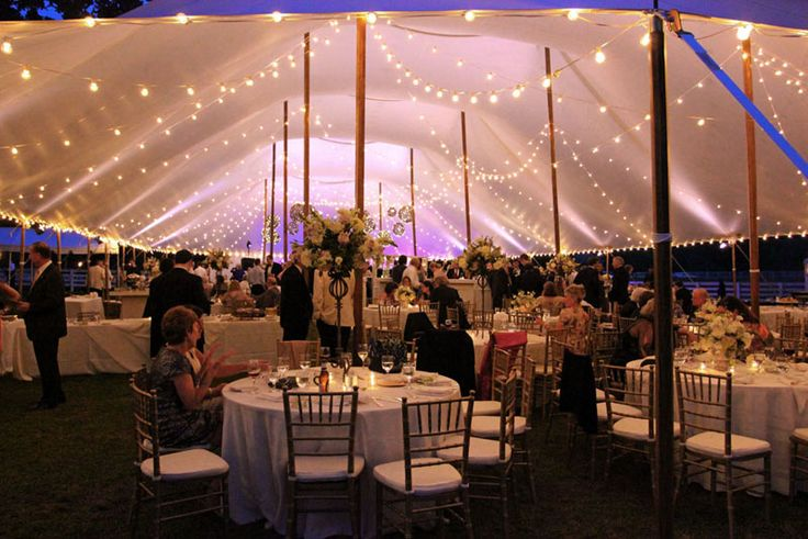 String lighting, grapevine balls, and Par Can uplighting in a sailcloth tent by Goodwin Events ...