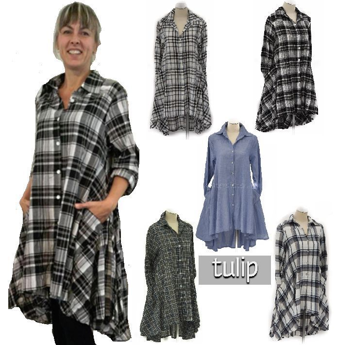 TULIP CV248 Cotton Hi-Lo Boyfriend LULU SHIRT Long Top  XS S M L XL  5 FABRICS #TULIPUSA #ButtonDownShirt #Versatile
