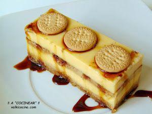Pastel de flan y galletas fácil sin horno