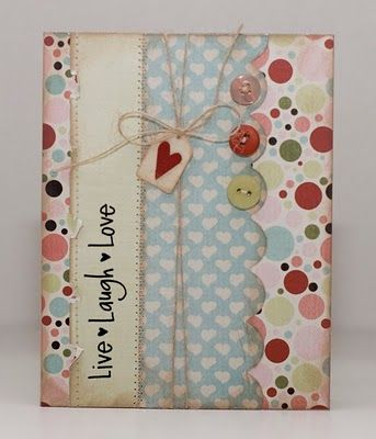 """I'm sick of the cliche """"live, laugh, love"""" but I love this card & think it's a good inspiration for a card.: Handmade Card, Dot Card, Love Cards, Cards Tags, Thinking Of You Card, Card Ideas, Live Laugh Love"""
