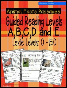 This document contains passages that make it easier to teach students at their guided reading/Lexile levels.  The document includes 25 reading passages at (5 Levels of Instruction). Literary and Math Ideas has task cards that are also organized by guided reading/Lexile levels. $