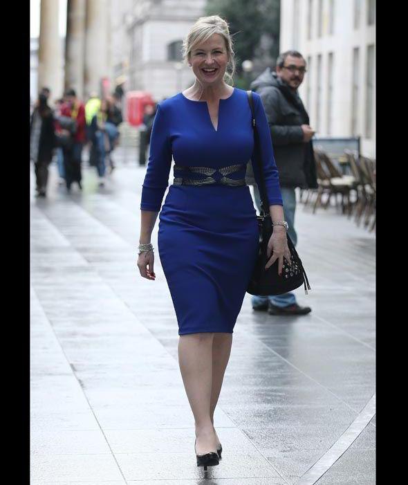 BBC Breakfast weather presenter Carol Kirkwood seen enjoying a coffee at Caffe Nero