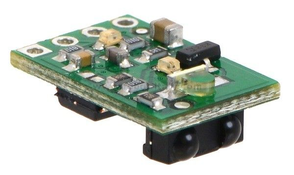 This module features a fixed-gain, 38 kHz modulated IR sensor and a corresponding IR LED with oscillator circuit to make a tiny proximity sensor. This high-brightness version draws an average of 16 mA and has a typical sensing range up to approximately 24 inches (60 cm).