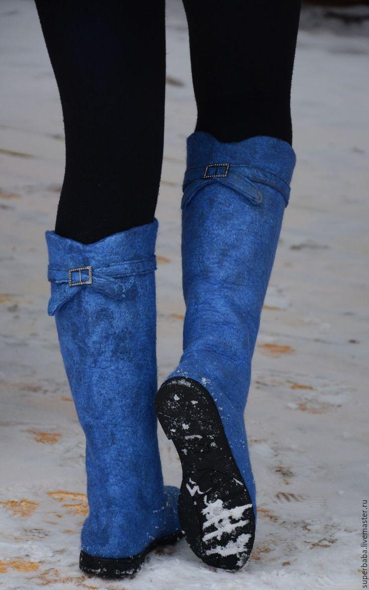 """Купить сапожки валяные """"В бирюзовых тонах"""" - синий, сапоги валяные, обувь валяная"""