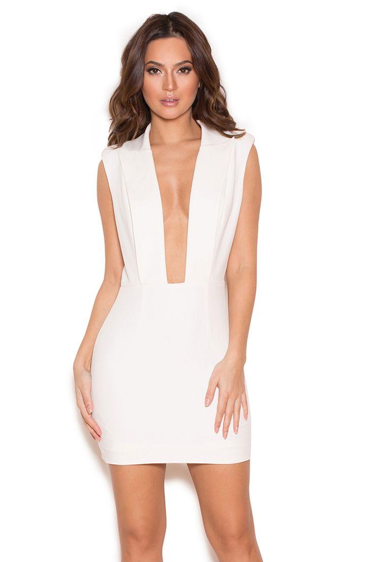 Clothing : Structured Dresses : 'Tomsa' White Deep V Structured Dress