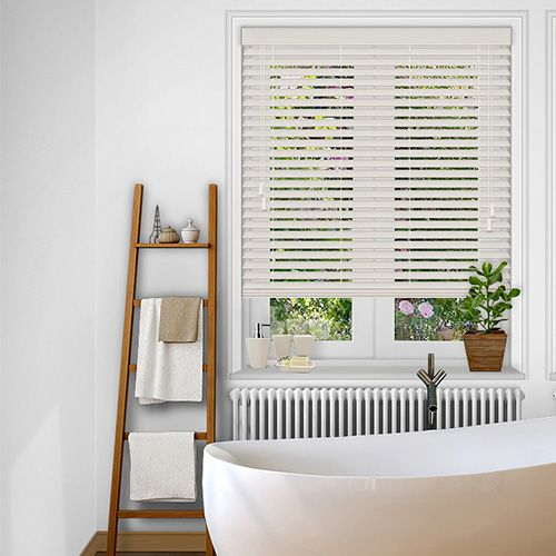 A 50mm Muted Cream Faux Wood blind the ideal solution for kitchen & bathroom environments