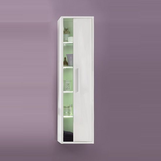 Campus Wall Mounted Tall Bathroom Cabinet In White With High Gloss Fronts And LED, it features 1 door with Glass inserts Features: •Campus Wall Mounted Bathroom Cabinet In High Gloss Fronts Wi...