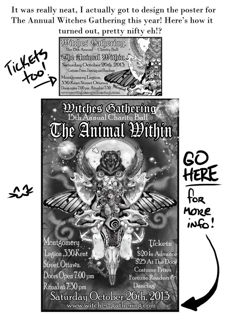 The poster and ticket I created for the Annual Witches Gathering, the Halloween bash we attend yearly :)