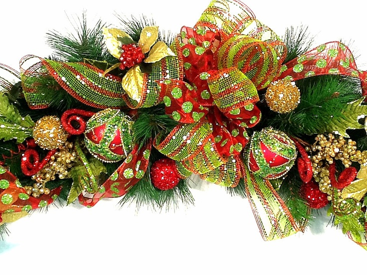 Mantel garland christmas centerpiece swag lux custom red for Christmas swags and garlands to make