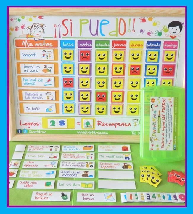 Tablero de Logros ...Sí Puedo!!. Disponible en inglés o español. Ideal para niños de 2+ hasta los 12 años. Ayuda en la formación de hábitos por 10 años y familiarizar a los peques con los números desde que comienzan a aprenderlos, los motiva a comprometerse con sus metas y a enorgullocerse al lograrlas . PENSADO Y DISEÑADO para que los peques realmente entiendan y midan sus aciertos. Los niños que aún no saben leer y escribir pueden entender claramente lo que se les pide.
