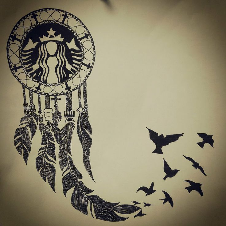 The Ultimate white girl tattoo. The Starbucks symbol inside of a Dream Catcher, whose feathers transform in to a flock of flying Birds.