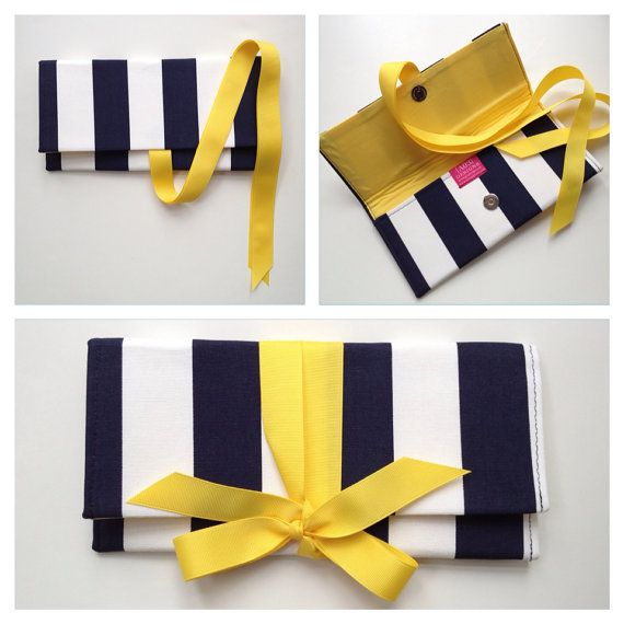 Navy Clutch in canopy stripe with yellow bow. The by ao3designs, $38.00