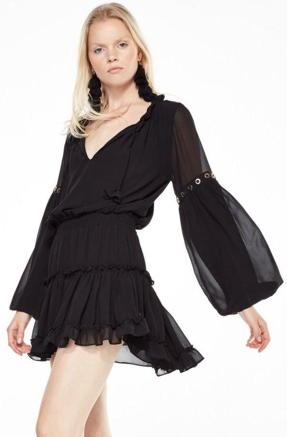 MISA LA Danai L/S V Neck Classic Chiffon Ruffle Trim Mini Dress Black S $304 #MISA #DressAsymmetricalHemBabyDollBallGownBeachDressBlouson #Cocktail
