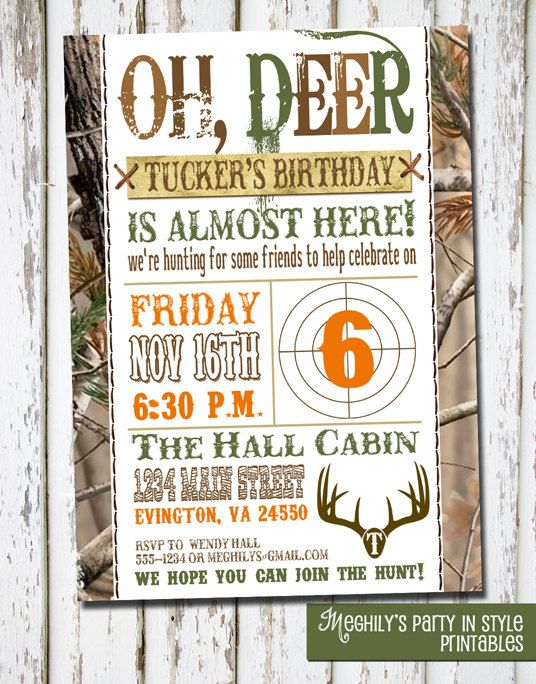 Hunting Theme  Birthday Invitation by Meghilys on Etsy, $8.00