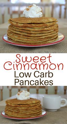 Sweet Cinnamon Low Carb Pancakes. They're a quick and super easy breakfast option.  Whether you're getting bored on your egg fast or just a low carb or keto style eater these are for you! With only 4 grams of carbs for the ENTIRE RECIPE they'll fit nicely into your plan.This recipe makes 3 or 4 decent sized pancakes and comes in at 340 calories.