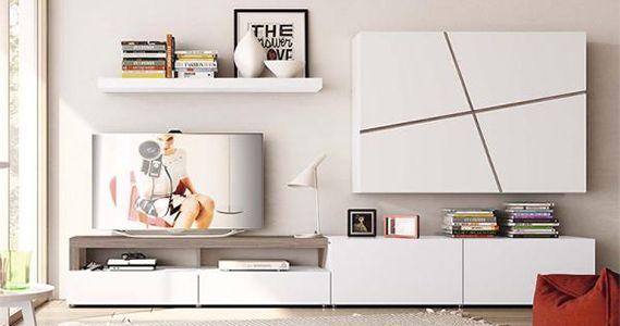 Sciae Bump, Contemporary Compact TV Cabinet, White Gloss Finish