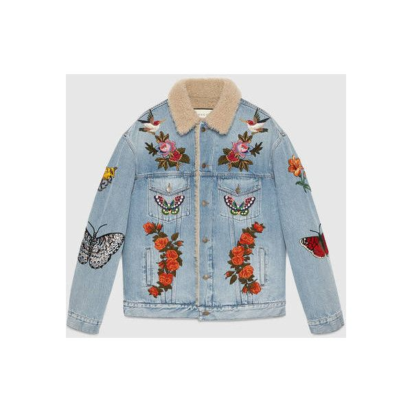 Gucci Embroidered Denim Jacket With Shearling ($3,650) ❤ liked on Polyvore featuring men's fashion, men's clothing, men's outerwear, men's jackets, mens vintage denim jacket, mens shearling jacket, gucci mens jacket, mens vintage jackets and mens vintage jean jacket