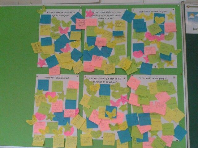 Start van het schooljaar. Allemaal vragen en kinderen schrijven hun antwoord op. Gr. 7