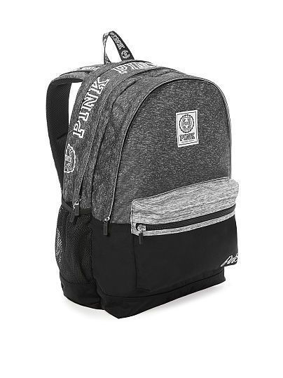 bc3e87d083bc Victoria s Secret Pink Campus Backpack Black Grey Marl White Logo Travel  NEW VS
