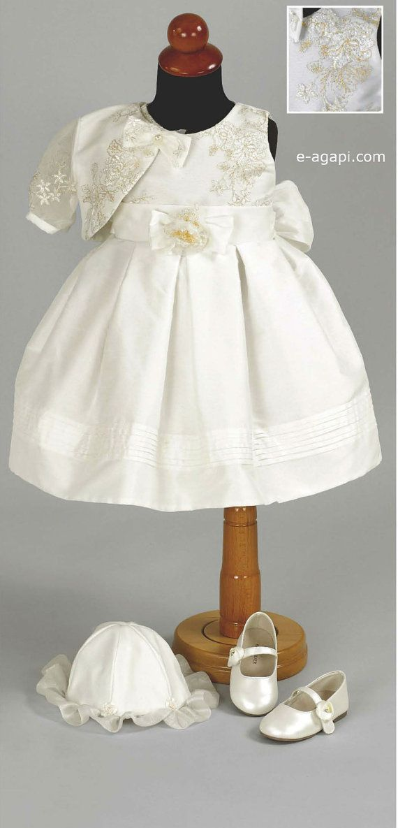 Ready to shipp  Baby girl baptism dress SET Broderie by eAGAPIcom