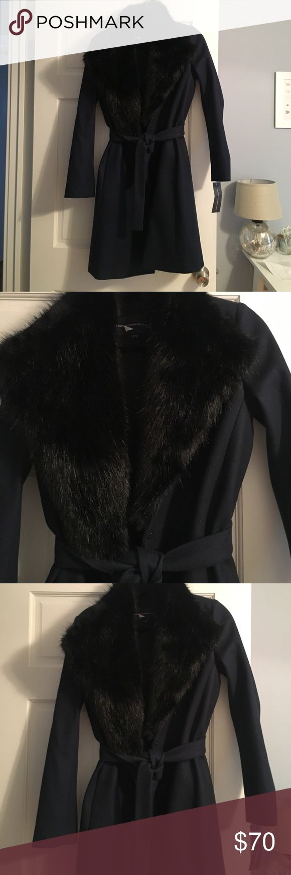 French Connection Navy Coat black faux fur collar French Connection Navy Coat black faux fur collar size 6 perfect condition. Never worn French Connection Jackets & Coats
