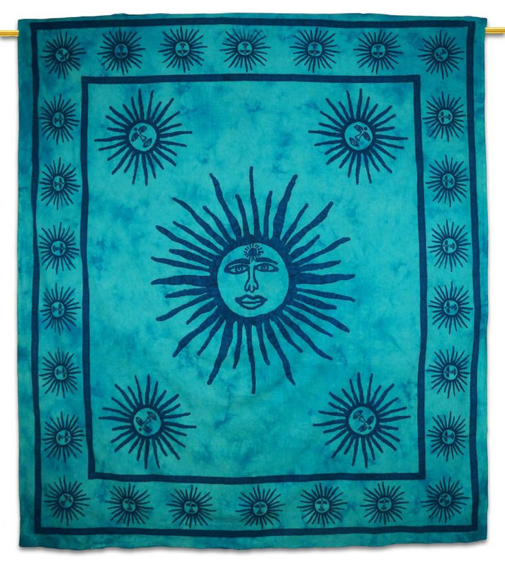 Beautiful Indian Screen Printed Cotton Sun Pattern Tapestry or Bed Cover in Twin size. ..this is img