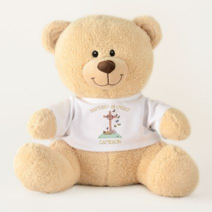 Baptism Dedication Christening Personalized Teddy Bear - baby gifts child new born gift idea diy cyo special unique design