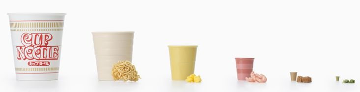 Cup Noodle Matryoshka by Japanese design company Nendo is a specialty souvenir for the Nissin Cup Noodle Museum in Yokohama. It opens up like a set of Russian babushka dolls revealing a different ramen ingredient.