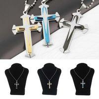 1pc joyas de moda vintage inoxidable Collar Cruz de acero para hombres mujeres collar de moda los collares largos colgantes de la cadena de acoplamiento