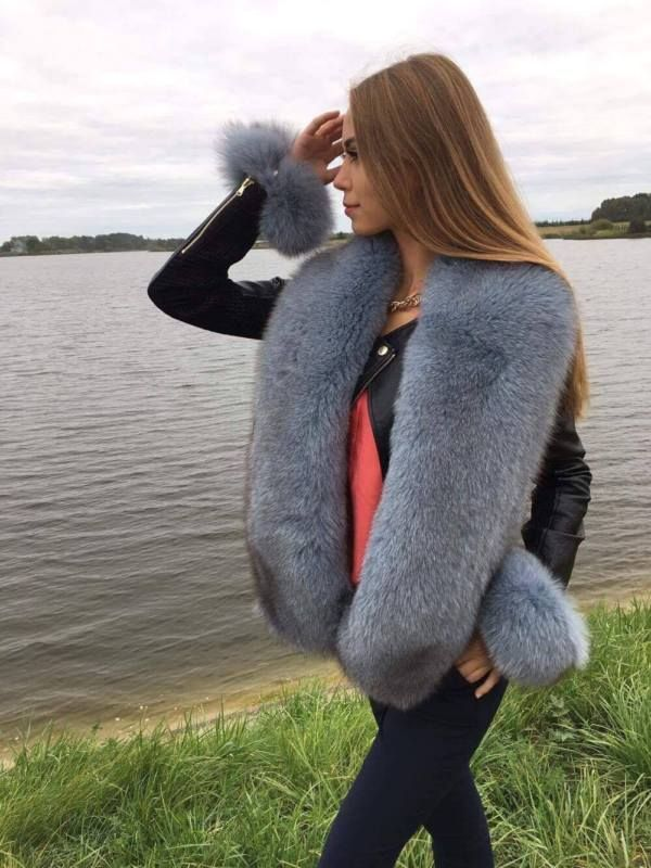 Fox Fur Stole. Boa is 55' Inch Length. Natural Lining. Gray Blue Color.                                                                                                                                                                                 More