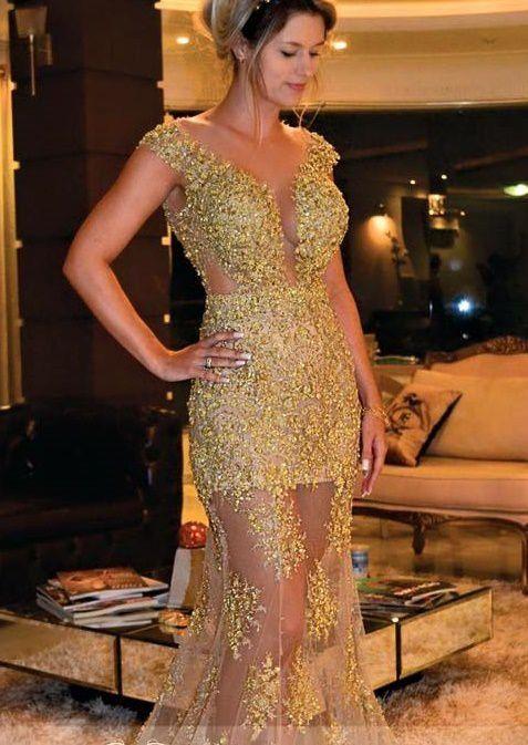 c98c3124f2aa VESTIDO BORDADO DOURADO LONGO - Livia Fashion Store - Moda feminina direto  da fábrica. Vendemos