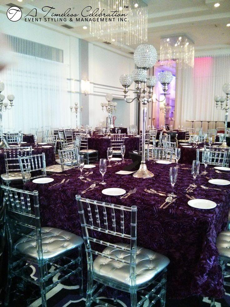 Modern Chic Wedding Reception Eggplant Rosette