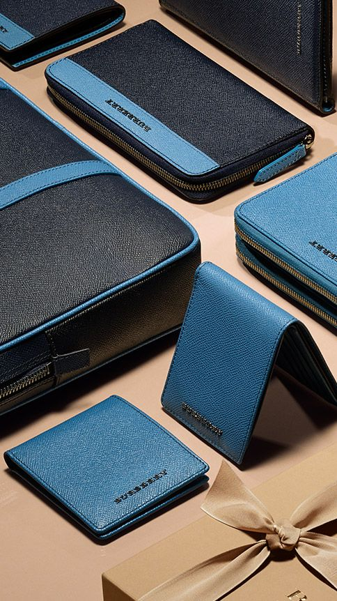 Shades of blue on briefcases, wallets and digital cases from the men's gift collection. Find the perfect gift this festive season at Burberry.com #burberrygifts #christmas