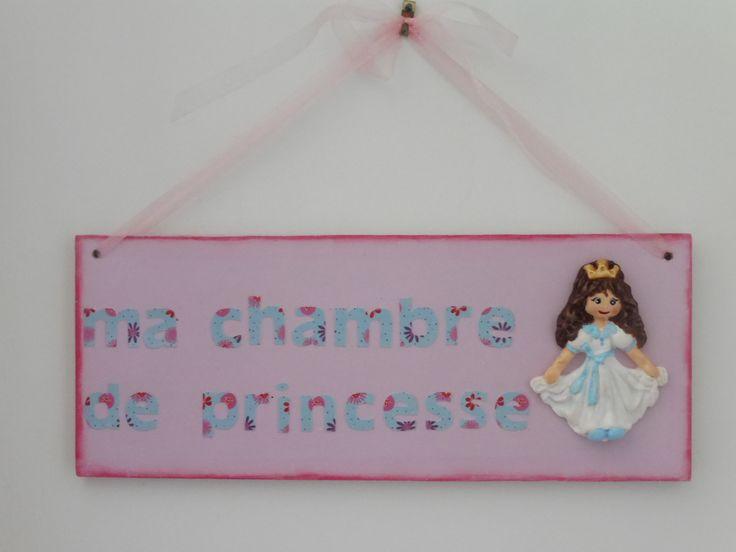 plaque de porte pour chambre fille, décoration princesse, rose clair et bleu : Décorations murales par mes-decorations