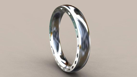 Thin Disigner 4mm Mens Wedding Band with by UntilDeathWedRings