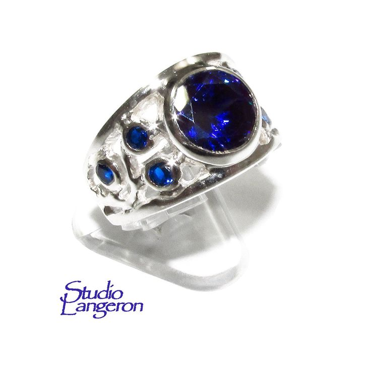 Blue topaz ring <b>925 sterling silver</b> size 8, <b>100</b>% handmade, single ...